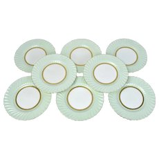 Set 8 Minton's for Tiffany & Co. Somerset Green Dinner Plates Chargers