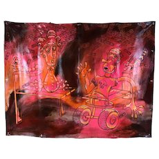 """Huge Bizarre Painting on Canvas Banner """"Falling Money"""" Kate Barrere"""