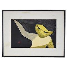 Kaoru Kawano Mid-Century Modern Japanese Woodblock Print Girl w Flowing Hair