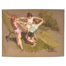 Mid-Century Impressionist Oil Painting Three Children Dancing in Circle sgnd Hansen