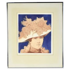 "Loyce Moskow Colored Etching ""A Great Hat on a Great Aunt"" Chicago artist"