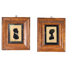 Pair 1829 Antique Eglomise Silhouette Miniature Portraits Portsmouth England