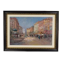 Large Impressionist Oil Painting Parisian Street Scene Morris Column by Morgan