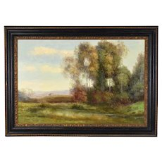 Impressionist Oil Painting Landscape w Building in Distance signed Stephano