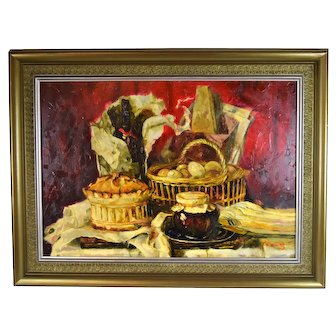 Large Impressionist Still Life Oil Painting Wine Pastries Preserves by Young