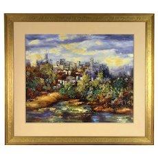 "Alexa Kelemen Impressionist Oil Painting  ""Enchanted View"" Hilltop City"