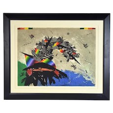 "1979 Modernist Abstract Etching Georges Dussau ""Monday from a Week in September"""