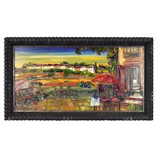Maya Eventov Heavy Impasto Oil Painting Bicycle Cafe Table Overlooking Landscape