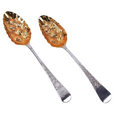 Pair Sterling Silver George III Parcel Gilt Engraved Repousse Berry Spoons
