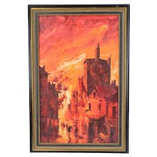 Vintage Mid-Century Modern Fiery Orange Red Abstract Cityscape Street Scene