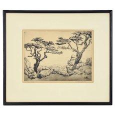 "1939 California Etching Monterey Cypress Trees ""Near Carmel"" Caroline Castle"