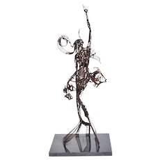 1989 John Jagger Brutalist Metal Sculpture Abstract Mermaid w Fish