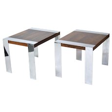 Vintage Pair Milo Baughman Rosewood End Tables Chrome Banding & Legs