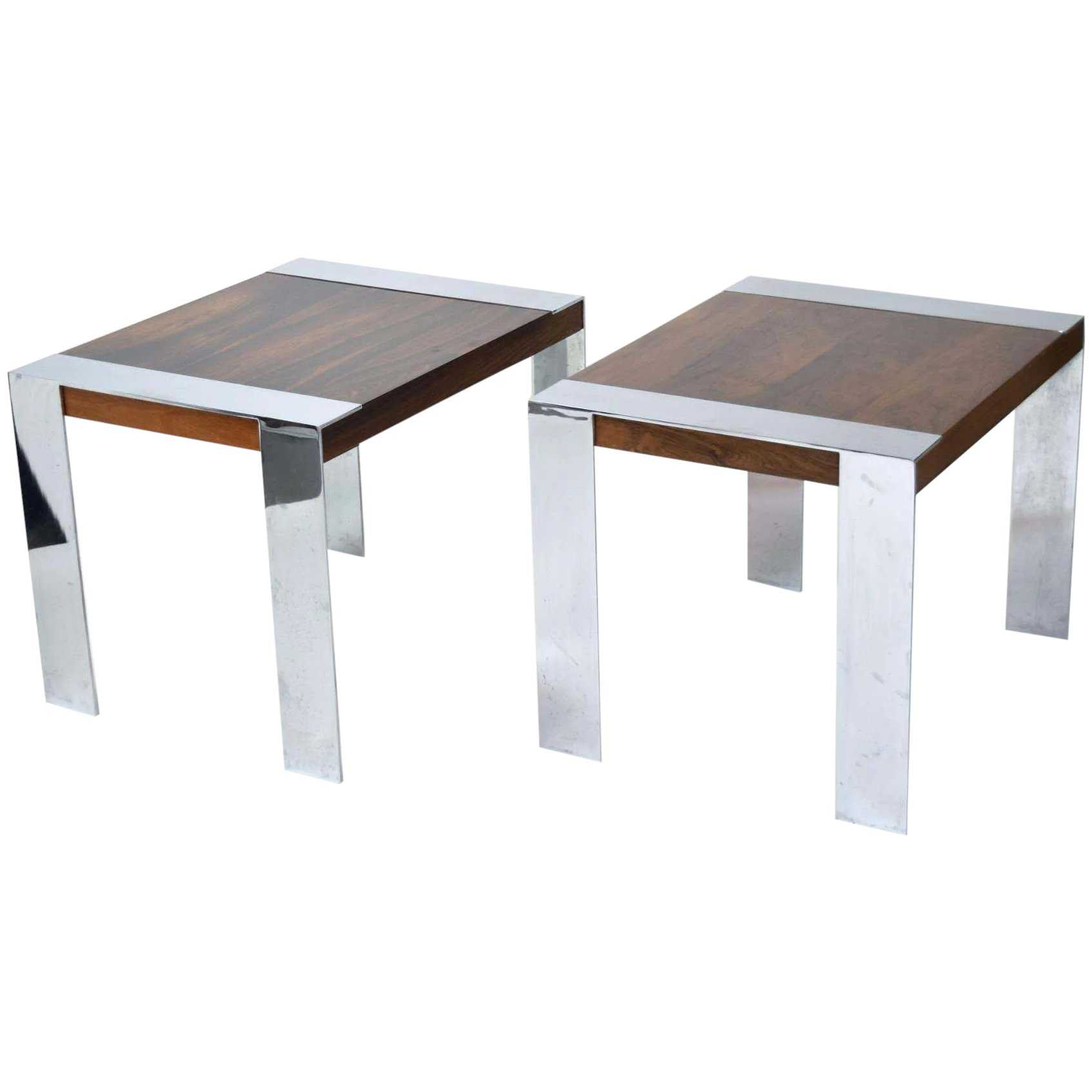 Vintage Pair Milo Baughman Rosewood End Tables Chrome Banding Legs Colin Reed Art Antiques Ruby Lane