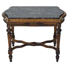 1920's Carved Walnut Marble Top End or Occasional Table