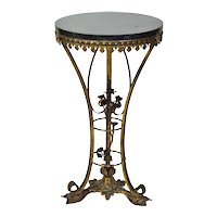 Vintage 1920's Gueridon Table Stand w Marble Top & Gilt Metal Flowers