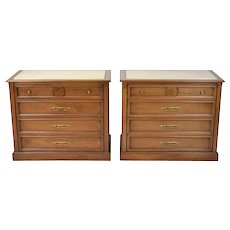 Pair Vintage Mid-Century Kent-Coffey Domani Travertine Marble Top Chests