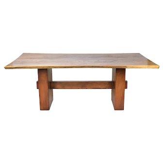 Beautifully Grained Walnut Live Edge Slab Dining Table Custom Made Steel Base #1