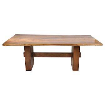 Beautifully Grained Walnut Live Edge Slab Dining Table Custom Made Steel Base #2