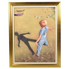 Vintage Mid-Century Oil Painting Boy Playing on Beach w Seagulls signed Schwab
