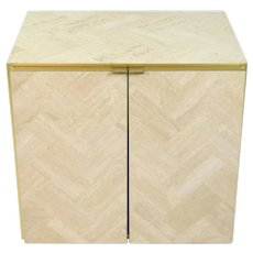 Vintage Ello Cabinet End Table Marble Travertine and Brass