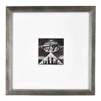 """Beam Me Down"" Flying Saucer Cityscape Black & White Gouache Painting R. Smyth"