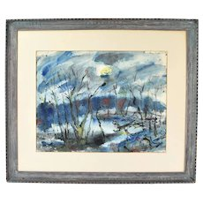 """1953 George Beuhr """"Winter Sun"""" Watercolor Painting Chicago Artist"""