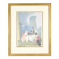 Vintage 1950's Gouache Painting Depicting Lovers Getting Frisky at Dining Table