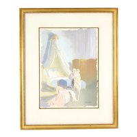 Vintage 1950's Gouache Painting Nude Lovers Getting Intimate in Bedroom