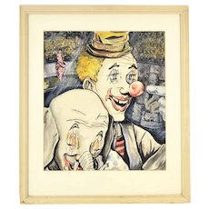 Vintage 1964 Watercolor Circus Painting Clown with Baby Elephant Signed