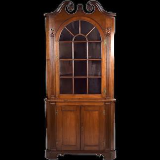 Antique Early 19th Century Pennsylvania Corner Cupboard Cabinet Tulip