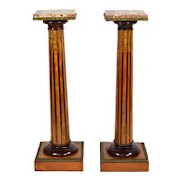 Antique Pair Neoclassical Fluted Column Pedestals w Bronze Mounts Marble Tops