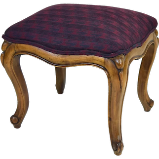 Vintage French Style Footstool Ottoman with Cabriolet Legs