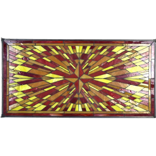 Vintage Mid-Century Starburst Geometric Red and Yellow Stained Glass Window