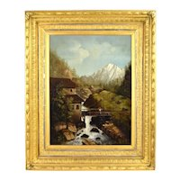 Antique 19th Century Oil Painting Bridge Over Mountain Stream with Cows