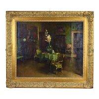 Antique 19th Century Impressionist Oil Painting Gilded Age Interior