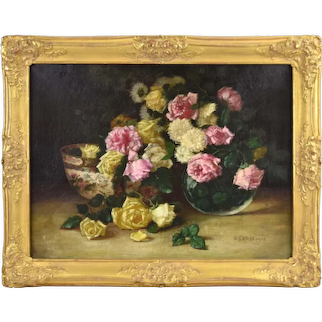 19th Century Oil Painting Still Life w Roses signed Estabrooks Chicago