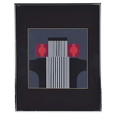 Vintage Mid-Century Modern Abstract Geometric Serigraph