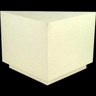 Modern Triangular Faux Stone Finish Pedestal Corner Table or Sculpture Stand