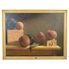"Large Naturalistic Still Life ""Pumpkin and Glass Balls"" James Disrud Chicago 1992"