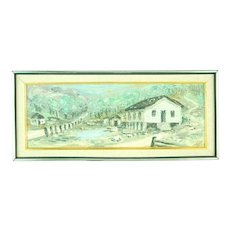 1963 Heavy Impasto Oil Painting Cabin Cottage at the Bottom of Hill Signed