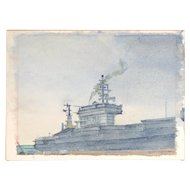 Vietnam Era Watercolor Painting of Aircraft Carrier USS Nimitz 68