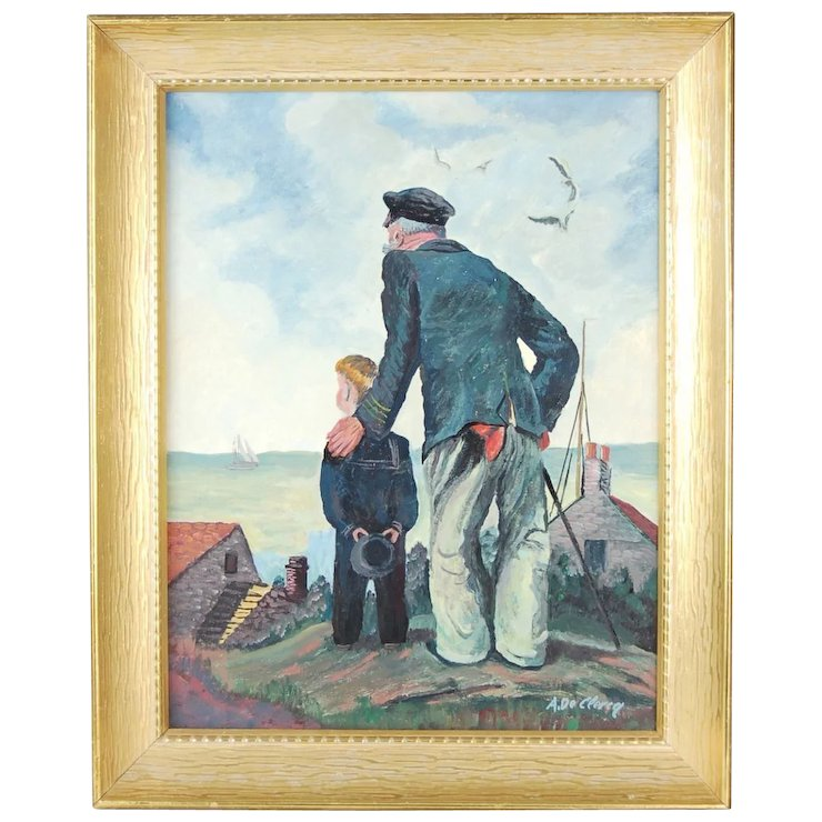 Old Sea Captain Grandfather With Sailor Boy Grandson Oil Painting