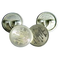 Belais Antique 14k White Gold Mens Cuff Links Garland Motif