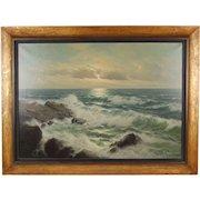 Vintage German Seascape Oil Painting Surf Pounding Rocks signed Walther Dettmann