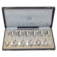 1918 Set Dutch Sterling Silver Engraved Demitasse Spoons Presentation Box