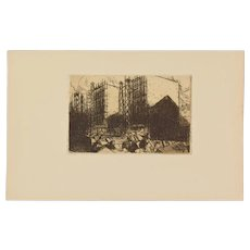 JULIEN LEMORDANT Maisons en Construction Houses 1912 Etching Aquatint
