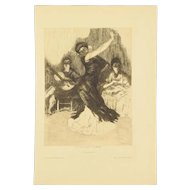ALEXANDRE LUNOIS – Flamenca Dancer Beaux Arts Edition Etching 1912