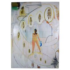 Huge Sculptural Surrealist Painting Nude Woman Acrylic Jewels Chicago Artist