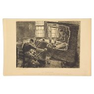 MAX LIEBERMANN LE TISSERAND The Weaver Workshop 19th Century ETCHING